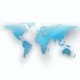 Fondo blu di colore con la mappa di mondo, ombra, onde astratte, linee, curve Progettazione di moto Decorazione di vettore Fotografie Stock Libere da Diritti