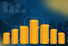 Fondo blu di finanza e di affari con la pila di monete dorate Immagini Stock