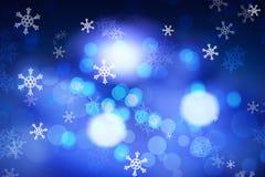 Fondo blu di inverno con i fiocchi di neve illustrazione di stock