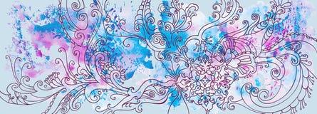 Fondo blu di inverno con i modelli e le macchie dell'acquerello immagine stock