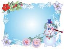 Fondo blu di Natale con il pupazzo di neve e le palle Fotografie Stock