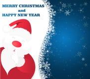 Fondo blu di Natale con Santa Claus ed i fiocchi di neve Fotografia Stock Libera da Diritti