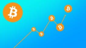 Fondo blu di pendenza del grafico di Bitcoin Fotografia Stock