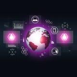 Fondo blu di tecnologia di concetto di comunicazione Fotografia Stock Libera da Diritti