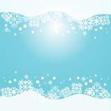 Fondo blu di vettore con i fiocchi di neve Immagini Stock Libere da Diritti