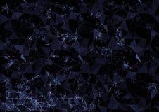 Fondo blu disegnato estratto Progettazione di poligonal di origami con effetto di vetro macchiato rotto Fotografia Stock