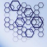 Fondo blu e bianco astratto del modello di esagono Progettazione di massima geometrica EPS10 Immagini Stock