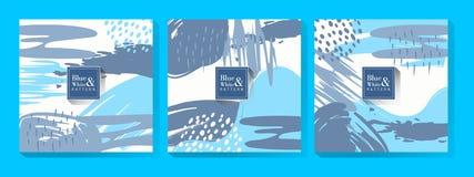 Fondo blu e bianco del modello illustrazione di stock