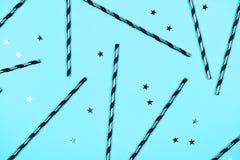 Fondo blu festivo, disposizione piana Fotografia Stock Libera da Diritti