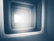 Fondo blu futuristico del tunnel 3d Immagine Stock