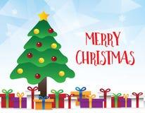 Fondo blu geometrico con il Buon Natale ed il buon anno di FotFor dell'albero di Natale illustrazione di stock