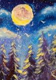 Fondo blu leggiadramente di inverno Foresta degli alberi attillati nevicare La grande luna è pittura a olio originale brillante i Immagini Stock Libere da Diritti