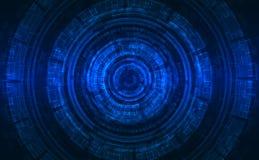 Fondo blu luminescente Stile futuristico di tecnologia di SCI-Fi/di Ciao-tecnologia Fotografia Stock Libera da Diritti