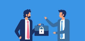 Fondo blu orizzontale piano di protezione dei dati di sicurezza GDPR del lucchetto di caso della tenuta dell'uomo d'affari di con illustrazione vettoriale