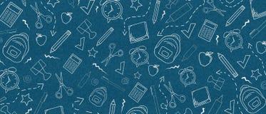 Fondo blu scuro con gli elementi della scuola Di nuovo al concetto del banco royalty illustrazione gratis