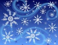 Fondo blu scuro del fiocco di neve Fotografia Stock Libera da Diritti