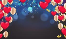Fondo blu scuro di festa con bokeh brillante variopinto ed i palloni del partito illustrazione vettoriale