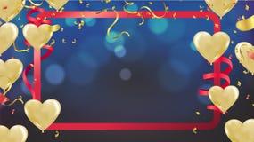 Fondo blu scuro di festa con bokeh brillante variopinto ed i palloni del partito illustrazione di stock