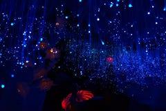 Fondo blu scuro fantastico del bokeh e confuso di tema nella caverna mystry immagine stock libera da diritti