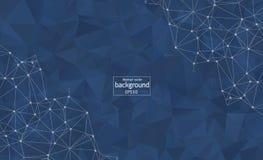 Fondo blu scuro poligonale dell'estratto con i punti e le linee collegati, struttura del collegamento, fondo futuristico del hud, royalty illustrazione gratis