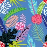 Fondo blu senza cuciture tropicale dei fiori e delle foglie del fumetto Immagine Stock