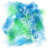 Fondo blu stilizzato dell'acquerello Fotografie Stock Libere da Diritti