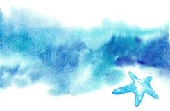 Fondo borroso azul de la acuarela exhausta de la mano para el texto con las estrellas de mar foto de archivo libre de regalías