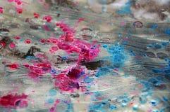 Fondo borroso azul marino helado plateado de la acuarela, textura abstracta cerosa Foto de archivo libre de regalías