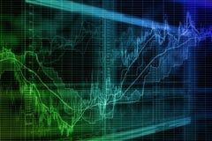 Fondo borroso basado en gráficos del mercado de acción en la pantalla Imagen de archivo