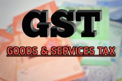 Fondo borroso con el texto de GST Foto de archivo