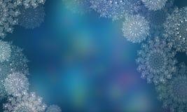 Fondo borroso con los copos de nieve por la Navidad y el A?o Nuevo Ejemplos de Digitaces de copos de nieve transparentes fotografía de archivo libre de regalías
