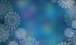 Fondo borroso con los copos de nieve por la Navidad y el A?o Nuevo Ejemplos de Digitaces de copos de nieve transparentes fotos de archivo