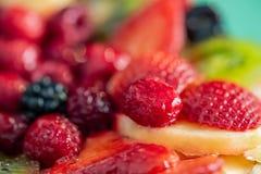 Fondo borroso de fresas, kiwi, pasas, frambuesa, pi?a, zarzamora Postre delicioso Foco suave primer imagen de archivo