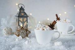 Fondo borroso de la bebida de la especia de la helada del invierno y del chocolate de la Navidad con las galletas Fotos de archivo libres de regalías