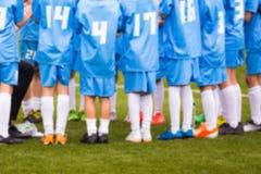 Fondo borroso de la imagen del equipo de fútbol del fútbol Emparejamiento de fútbol Imágenes de archivo libres de regalías