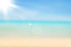 Fondo borroso de la naturaleza Contexto de la playa de Sandy con turquesa Imágenes de archivo libres de regalías