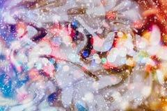 Fondo borroso de la Navidad Luces de la torre Eiffel y del bokeh Fotografía de archivo
