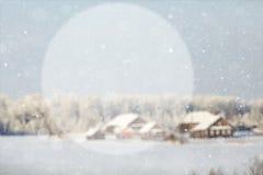 Fondo borroso del invierno con un círculo para el texto Imagen de archivo libre de regalías