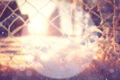 Fondo borroso del invierno con un círculo para el texto Foto de archivo libre de regalías