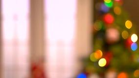 Fondo borroso extracto del árbol de navidad metrajes
