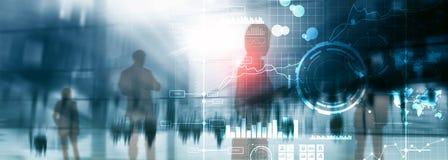 Fondo borroso transparente del tablero de instrumentos del análisis de KPI del indicador de rendimiento clave del BI de la inteli fotografía de archivo