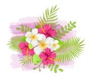 Fondo botanico di estate con i fiori e le foglie tropicali Fotografie Stock Libere da Diritti