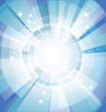 Fondo brillante azul con los rayos Foto de archivo
