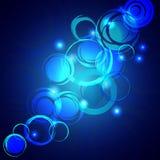 Fondo brillante blu con i cerchi di lerciume Fotografie Stock Libere da Diritti