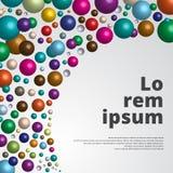 Fondo brillante colorido de las esferas 3d para la impresión de la plantilla, anuncio, po Imagen de archivo