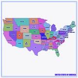 Fondo brillante con el mapa de los E.E.U.U. ilustración del vector