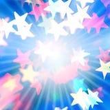 Fondo brillante con las estrellas y los rayos Imagen de archivo