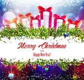 Fondo brillante de la Navidad con los regalos Foto de archivo libre de regalías