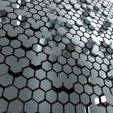 Fondo brillante de la placa de metal del hexágono Imagen de archivo