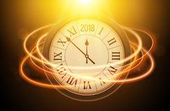 Fondo brillante del Año Nuevo 2018 con el reloj Cartel 2018, plantilla festiva de la decoración de la celebración de la Feliz Año Imagenes de archivo